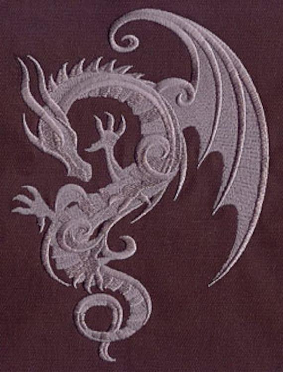 Baroque Dragon Embroidered Flour Sack Hand/Dish Towel