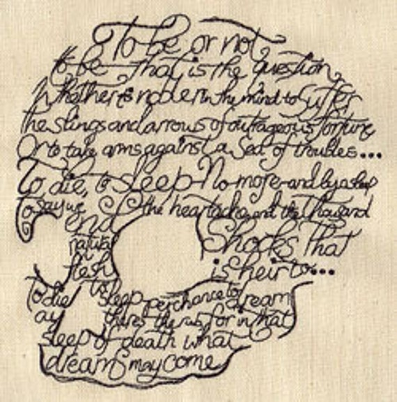 Writer Shakespeare To Be or Not to Be Hamlet Embroidered Flour