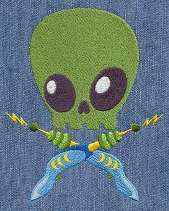 Alien Skully with Stakes Embroidered Flour Sack Hand/Dish Towel