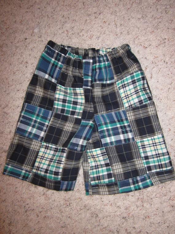 Toddler Boys Navy Madras Plaid Shorts - last one 4T