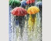 CANVAS Print, GICLEE Print, CITYSCAPE Paintning ,Fine Art Print From, Original oil Paintning, Umbrellas,Rain, Romantic  13inX26in