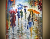 Painting Oil  Large ORIGINAL contemporary fine art textured modern palette knife from UMBRELLAS  Series 24inX36in