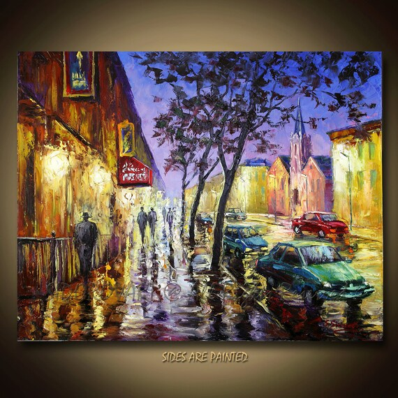 ORIGINAL contemporary fine art textured modern palette knife painting  Street View Series 24inX30in