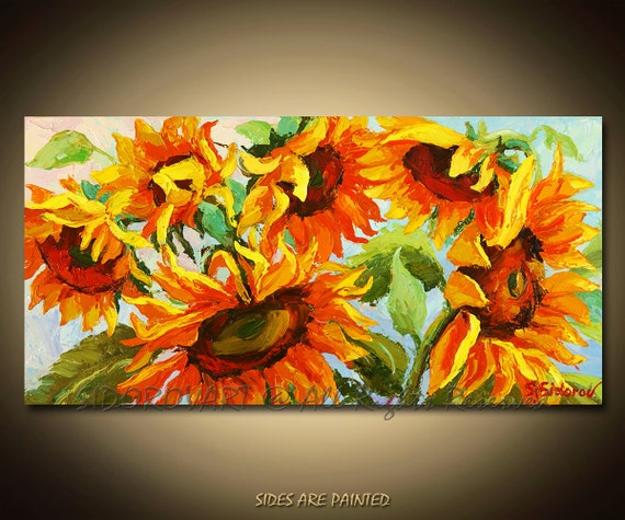 Painting Oil  ORIGINAL contemporary fine art textured modern palette knife from FLOWERS  Series10inX20in
