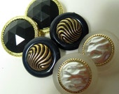 Vintage Style Detailed Buttons, Black with Gold, Navy with Gold, Pearl with Gold and Navy Blue