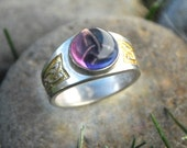 Celtic Triquetra Ring, Celtic Triple Goddess With Amethyst, Sterling Silver And 18k Gold