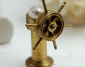 Vintage Brass Compass With Ship's Wheel