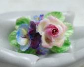 Vintage Porcelain China Flower Brooch England