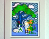 SALE Boys Nursery Dragon and Knight Print Blue Green matted for 11 x 14