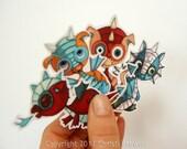 Vinyl Stickers Baby Dragons Decals Heavy Waterproof Car  or craft, indoor/outdoor, red teal blue orange