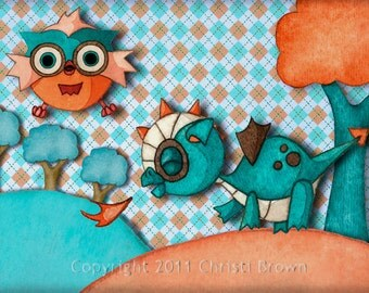 Nursery Art Print Baby Dragon and Owl Recycled Paper boys or girls for 5 x 7 turquoise peach orange