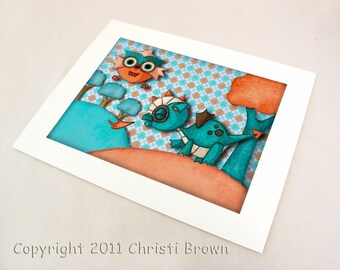 Baby Dragon and Owl Nursery Art Print Recycled Paper boys or girls for 8 x 10 turquoise peach orange