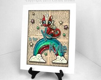 Dragon Baby Personalized Art Print Nursery Kids Decor Rainbow 11 x 14 Matted