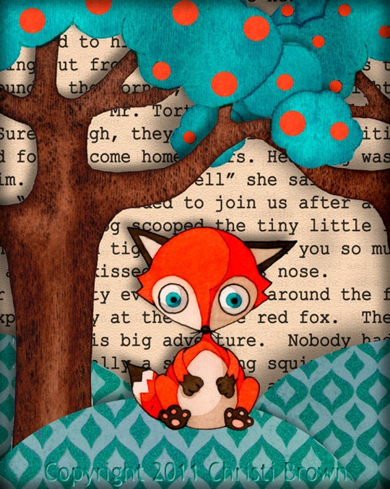 Kids Nursery Art Baby Red Fox Cub Print on Recycled Paper Picture 8x10 boys or girls orange teal brown