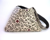 Flower shower shoulder bag gray pewter cream sprigs stars grey white winter snow rain storm ash charcoal smoke