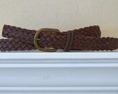 Vintage Brown Braided Belt XL
