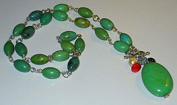"RESERVED for Jeannette , Gorgeous Green Howlite necklace, 18""L"