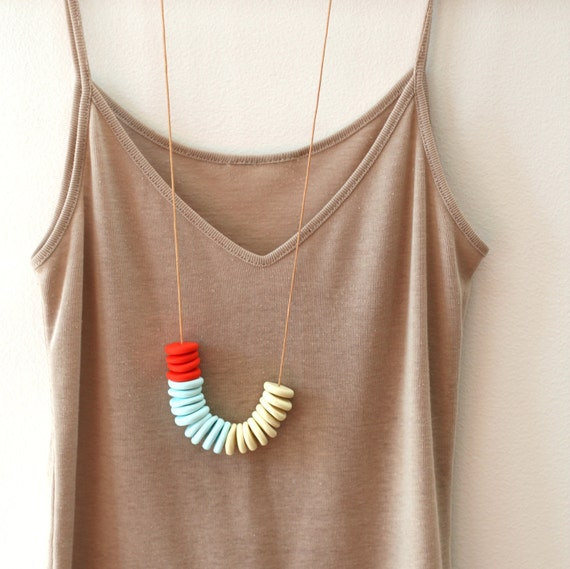 not quite flat beads make a handmade necklace