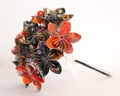Origami Paper Flower Bouquet - red orange and black