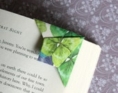Set of 5 - Origami Bookmarks, Corner Page Holder, Green and Purple Set