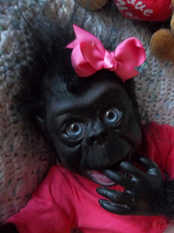 Reborn Ooak Art Monkey Ape Gorilla Baby Girl Lifelike Doll