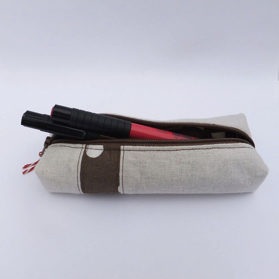 Natural Linen Pencil Case with Patchwork Polka Dot Stripe
