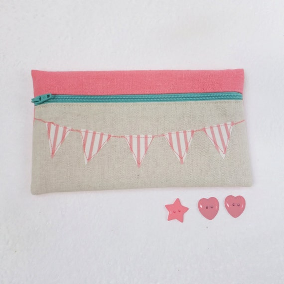 Pink and Mint Green Bunting Pencil Case