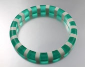 MOD bangle bracelet Green Striped lucite  Cool peppermint