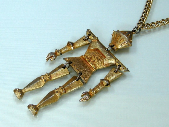 Vintage Tin Man articulated necklace Wizard of Oz gold tone