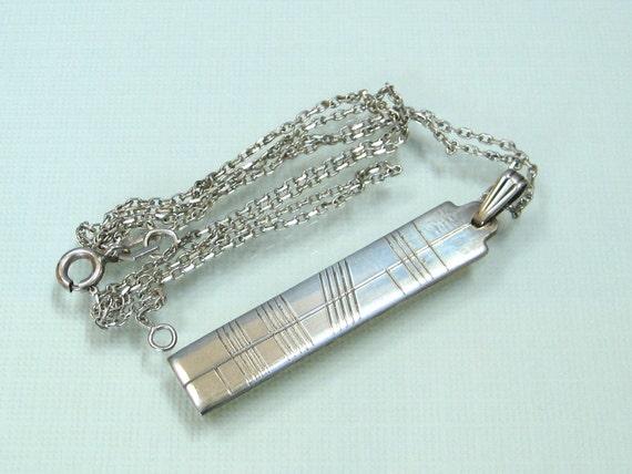 IRISH Sterling silver BAR pendant necklace vintage DUBLIN mark