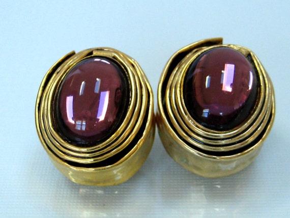 Studio Modernist earrings Brass Purple glass cabochon