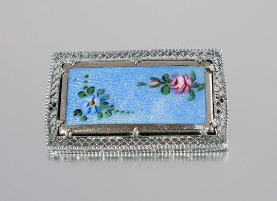 Art Deco brooch pin Guilloche enamel Forget Me Not rhodium filigree