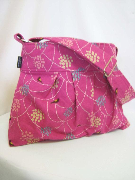 Emma Medium Diaper Bag - Messenger Bag - Pleated in Pink Japanese Import Linen - Adjustable strap - Elastic pocket - Custom