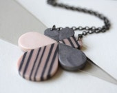 Stripes necklace silver peony and grey