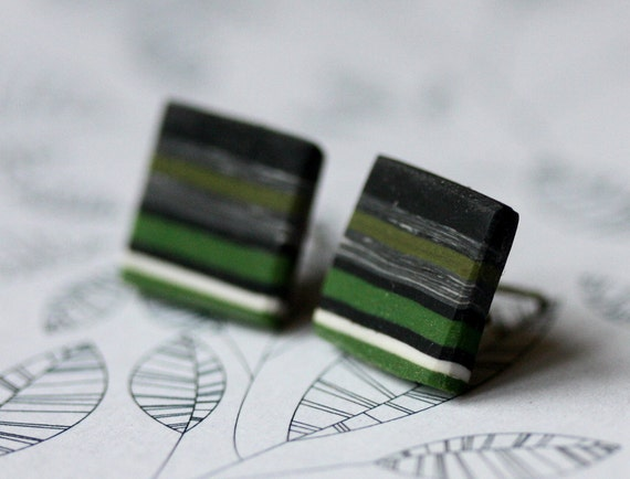 Earrings with black, green, white stripes and sterling silver