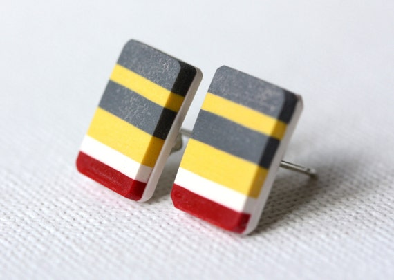 Earrings stripes grey, yellow, white, red and sterling silver