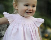 Pink Smocked Angel Sleeve Bubble