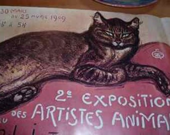 vintage poster with a big cat