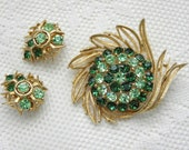Vintage Emerald Rhinestone Brooch Earrings, Lisner