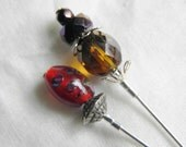 Two Vintage Silver Stick Pins, Art & Czech Glass Bead