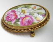 Vintage Limoges Porcelain Floral Brooch, signed Jo Bary, France