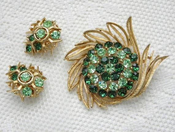 Vintage Emerald Rhinestone Brooch Earrings, Lisner