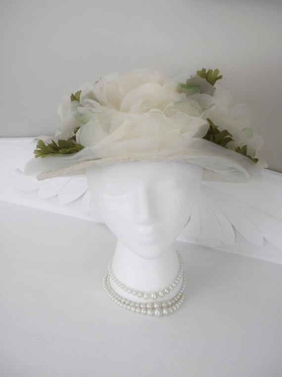 Vintage French White Floral Derby Hat, Designer - Madam Germaine