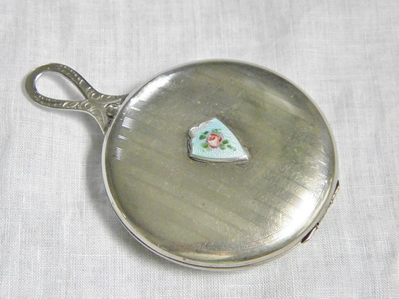 Vintage Silver Guilloche Powder Rouge Compact, 20s
