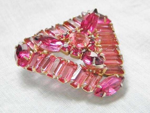 Large Vintage Pink Rhinestone Brooch 60s