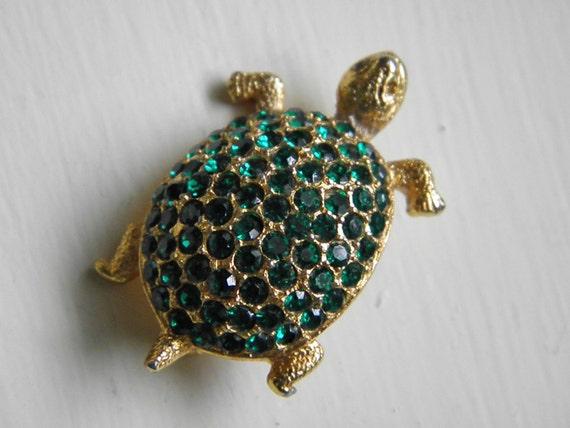Vintage Emerald Green Rhinestone Turtle Brooch