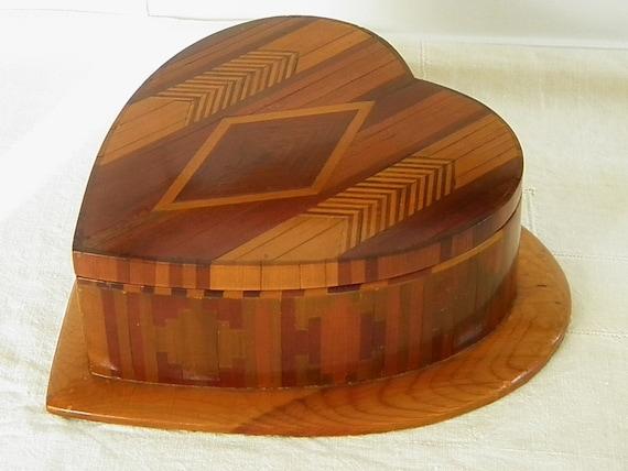 Antique Heart Parquetry Wood Jewelry Trinket Box