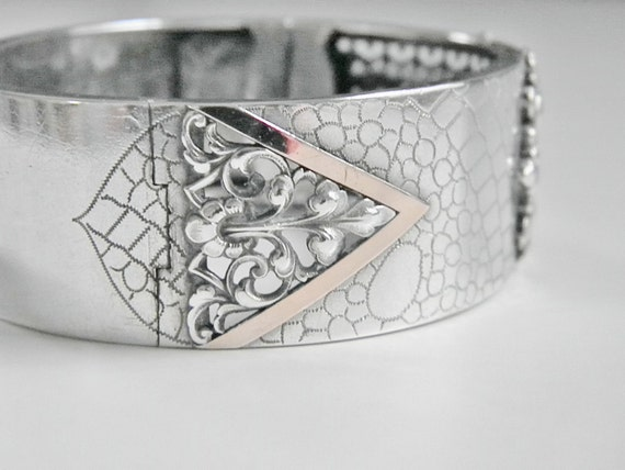 ReSeRvEd for Stellz Antique French Sterling Cuff Bracelet, Art Deco
