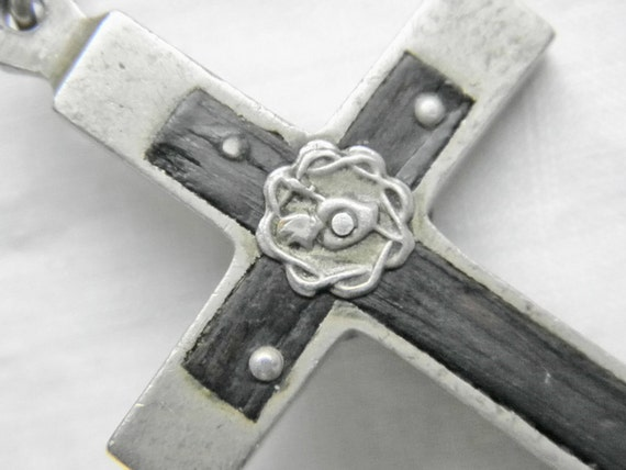 Large Vintage Nun's Pectoral Cross Pendant, 3 in.