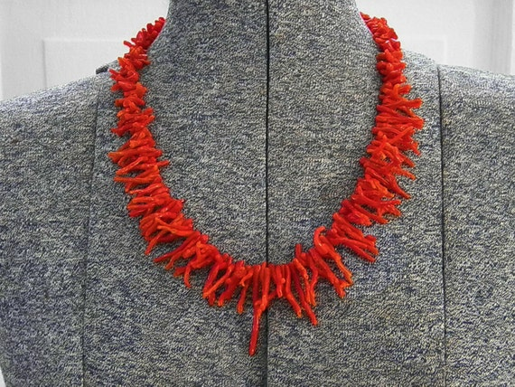 Vintage Red Coral Branch Necklace